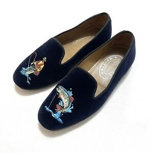 Stubbs & Wootton Sz 8 Mens Velvet The Fishermen Loafers Slippers Shoes