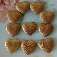 Vintage Metal BUTTON COVERS Heart Shape Etched Stars Brass Gold Tone SET of 10