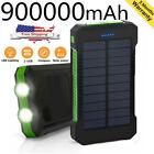 NEW Waterproof 900000mAh Portable Power Bank External Solar Pack Battery Charger