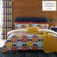 Catherine Lansfield Retro Floral Reverse Easy Care Duvet Cover Bedding Set Navy