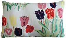 "Josef Frank Fabric Cushion Cover Tulips Printed White Linen Rectangular 20x12"""