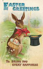 c1910 Distinguished Easter Rabbit with Top Hat Embossed Postcard