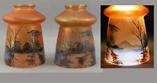 Antique Art Glass Iridescent Hand Painted Enamel Landscape Light Fixture Shades