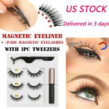Magnetic Liquid Eyeliner 1/3 Pairs Magnetic False Eyelashes With Tweezers US