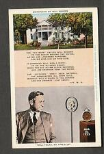 unmailed E C Kropp post card Will Rogers birthplace /Leo R Mallonee Claremore OK