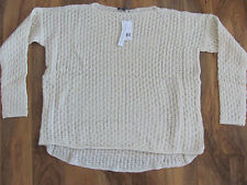 Vince Mini Cable Knit Sweater- Oversized- High/Low- Cream/Ivory -Large-NWT $285