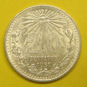 1939 Mexico 20 Centavos Silver Coin Take a Look
