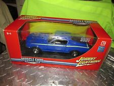 67 FORD MUSTANG 1/18 JOHNNY LIGHTNING BLUE FASTBACK W/ CRAGERS NICE