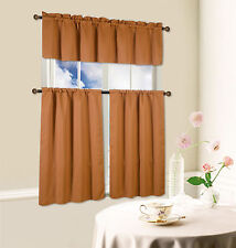 Beth Blackout Tier and Valance Curtain Set, 54 inches wide x 36 inches long
