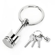 Cute Engine Auto Car Part Silver Metal Piston Model Keychain Keyring Keyfob Gift