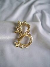 """Vintage Sarah Coventry Bamboo Style Initial """"B"""" Gold Tone Brooch"""