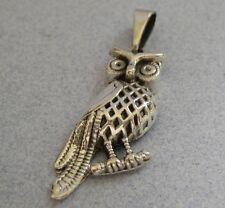 Mexican 925 Silver Taxco Good Luck Hoot Night OWL Animal Shiny LONG Pendant New