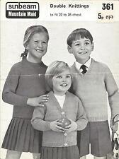 "Original Knitting Pattern Childrens Sweater & Cardigan 22""-26"" Sunbeam 361"