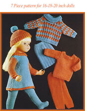 Knitting pattern for a 7 pce outfit to fit 16-18-20 in doll. Baby Born/ Annabel
