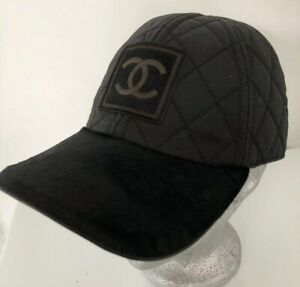 CHANEL 2006 Black Baseball Cap Pony Fur Visor Quilted HAT Sz.M Men Women