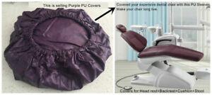 Dental Unit Chair Cover Dentist Stool Protector Cushion Sleeve PU Purple
