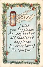 Pine & Pine Cones Border Hourglass,Quill Pen & Jan 1st-Old Whitney New Year PC