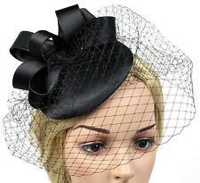STUNNING BLACK SATIN FASCINATOR WITH LOOPS & VINTAGE NETTING FOR SPRING RACES