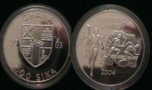 GHANA for Athens 2004 Olympics. Silver proof coin.