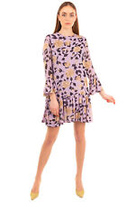 GANNI Flounce Dress Size 38 / M Floral Partly Lined Long Bell Sleeve Crew Neck