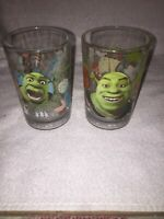 "2007 Shrek The Third Dreamworks 2 Different McDonalds Glasses Lot 5 1/4"" Tall"