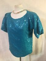 Jewel Queen Women's Size S Small Top SILK Turquoise Teal Sequins Blouse