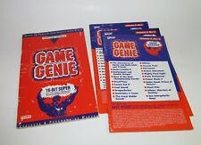 Super Nintendo SNES Game Genie CodeBook + 3 Update Books Good
