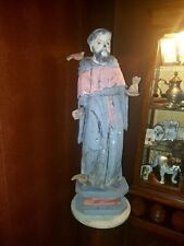 Antique Wood Carved St. Francis Statue Huge Rare Heavy Religious Figure Birds