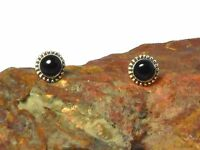Black  ONYX   Sterling  Silver  925  Gemstone  Earrings / STUDS - 5 mm  - Boxed!