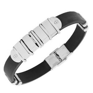 Stainless Steel Black Rubber Silver Tone Screws Mens Bangle Bracelet with Clasp
