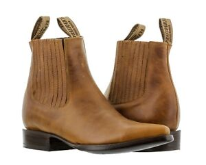 Mens Honey Brown Smooth Real Leather Western Cowboy Ankle Dress Boots Vaquero