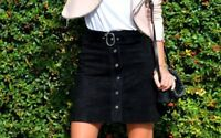 NEW ZARA BLACK LEATHER SUEDE MINI SKIRT WITH BELT & BUTTON FRONT Size S 4369/241