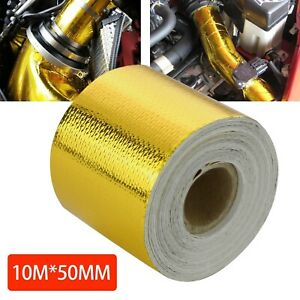 Reflective Adhesive Gold High Temperature Heat Shield Wrap Tape 50mm x 10M Roll
