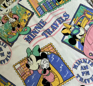 Make Offer -Vintage Minnie Travels Flannel Twin Flat Sheet RARE and hard to find