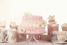 STUNNING SHABBY CHIC CAKE BAKING CANVAS #878 WALL HANGING PICTURE ART A1