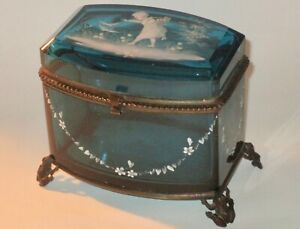Large Mary Gregory Blue Casket or Dresser Box w/Bronze Frog Mounts Continental