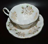 PRINCESS ANNE BONE CHINA ENGLAND CUP & SAUCER WHITE/GOLD VINTAGE