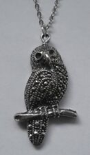 Chain Necklace #1165 Pewter OWL on BRANCH (35mm x 19mm) BIRD PENDANT