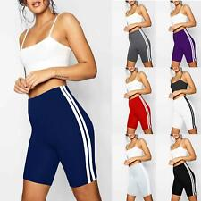 Womens Ladies Double Side Stripe Active Gym Cycling Shorts Tights Fit Hot Pants