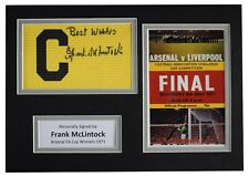 More details for frank mclintock signed captains armband a4 photo display arsenal 1971 fa cup coa