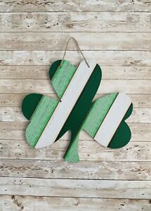 Farmhouse Rustic Large St Patrick's Day Irish Clover Shamrock Wood Hanging Sign