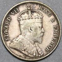 1903 Hong Kong Edward VII Silver 10 Cents Britain Empire Coin (20072705C)