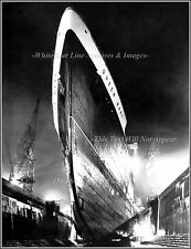 Photo: The Awesome Bow Of Troopship Queen Mary In Drydock, October, 1942