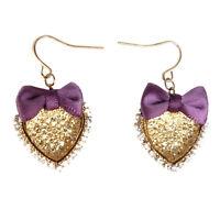 Boucles d'oreilles noeud papillon violet Coeur strass doré cristal blanc