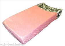 Sisi Baby Design Diaper Changing Table Pad Cover - Pink Minky Zebra