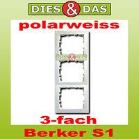 Berker S1 Abdeckrahmen 3 fach polarweiss pws/gl senkrecht/waagerecht 10138989