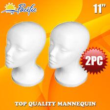 "2 PCS 11"" STYROFOAM FOAM MANNEQUIN MANIKIN head wig display hat glasses"