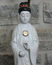 Vtg Antique Japanese Chinese Man or Woman Figure Statue Figural Lamp Brass Base