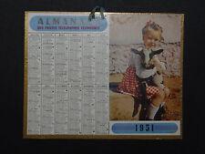 Calendrier Almanach 1951 fillette cabri calendar France Post calendario Kalender