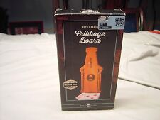 Wood Bottle Shaped 2 Players Cribbage Board Game Cards Included New